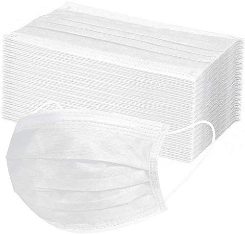 Gokeop 50Pcs Kids One-time Face Coverage, 3-Layer Disposable Non-Woven Earloop Breathable and Anti-Haze Dust, for Kids (White)