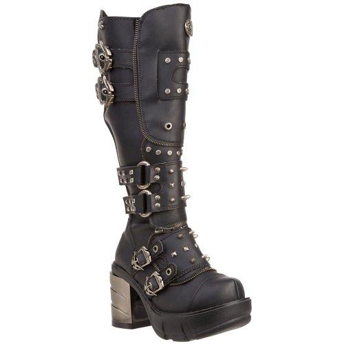 Demonia, Frauen Sinister 300 Schwarz Matt klobig Chrom Absatzplattform Kniehohe Stiefel (40)