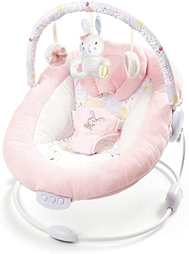 LADIDA Soft Padded Baby Spring Pink Flower Bouncer Recliner with Soothing Music Vibration and Toys 0m+, 76