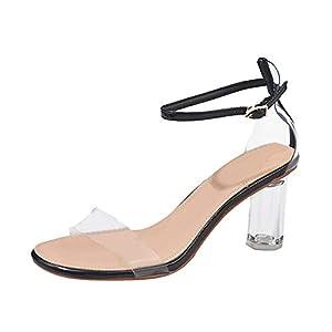 Verano Zapatillas de Mujer Una Palabra con Sandalias de tacón Gruesas Transparentes Zapatos de tacón Alto de Cristal… | DeHippies.com