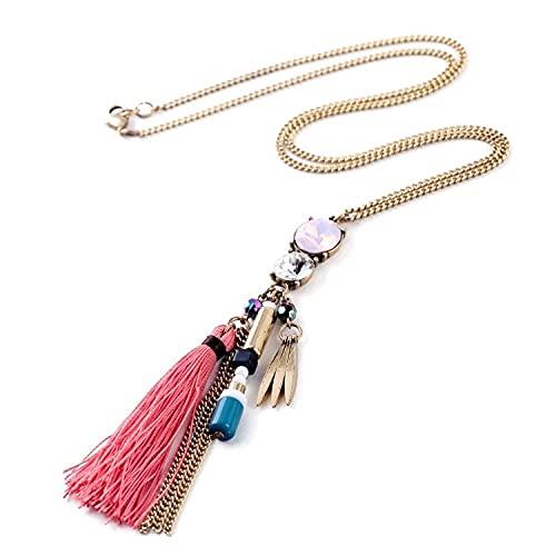 Moda marea estilo étnico cuerda borla colgantes Sra. Largo collar Boho regalo de fiesta de vacaciones