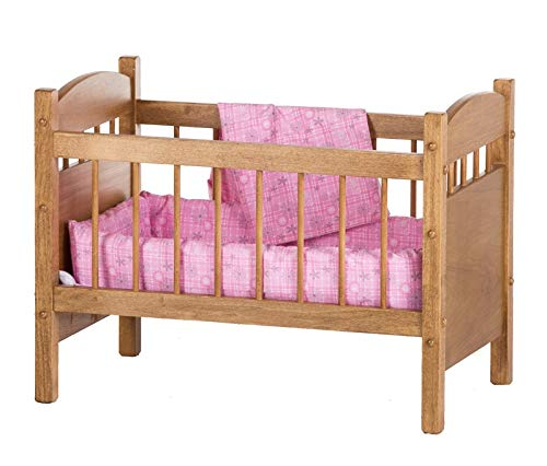 Amish-Made Wooden Deluxe Doll Crib, Natural Harvest Finish
