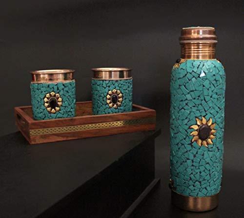 Crafting with Love A Beautiful Handmade 1 bandeja con 2 copas de cobre con 1 botella de cobre para mejorar la belleza de tu mesa.