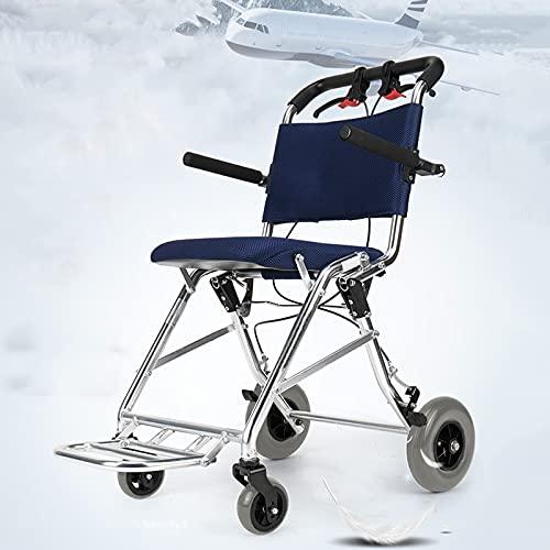 YZJYB Portatile Pieghevole Sedia A Rotelle per Disabili Braccioli Pieghevoli E Poggiapiedi Rimovibili Legerissima Seduta 35 Cm da Transito in Alluminio con Freno