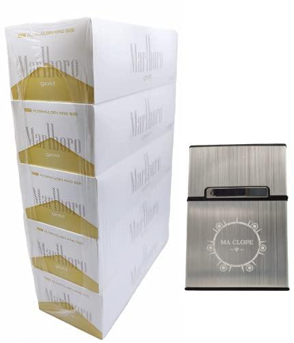 ELIKVAP 1000 Tubes a Cigarettes Marlboro Gold + Boite a Cigarette Grise - 5 x 200 Tubes a Cigarette Marlboro Gold.