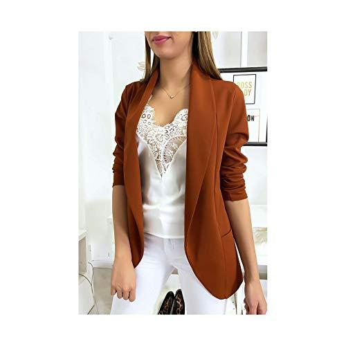 Miss Wear Line - jas Blazer Cognac sjaalkraag met zakken (47-11445-Cognac-1526)