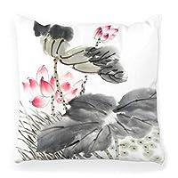 装飾的な投球枕カバー正方形18x18フラワーアートかわいい装飾ファッションスタイル家の装飾ジッパー式枕カバーシルバー34