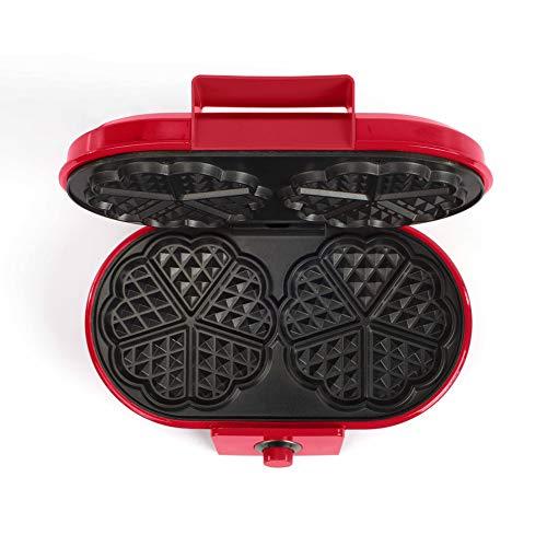 LIVOO DOP195 Gaufrier Thermostat Réglable | 10 Pièces par Fournée, Forme Cœur | Appareil à Gaufres, Revêtement antiadhésif | 1200W