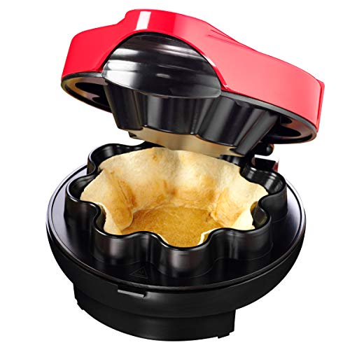 Nostalgia Taco Tuesday Baked Tortilla Bowl Maker, Uses 8 or 10 Inch Shells Perfect For Tostadas, Salads, Dips, Appetizers & Desserts, 10-Inch, Red