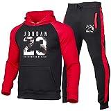 Z/A Bulls Chicago # 23 Conjuntos De Traje De Chándal para Hombre, Sudadera Y Pantalones para Correr, Traje De Pista De Jogging De Ajuste Slim,Rojo,M