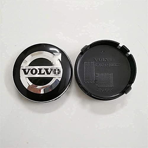 4 Piezas Tapas centrales para Volvo S40 S60 S80L XC60 XC90, Coche Central Llanta Rueda Cubre impermeable Resistente al desgaste Antióxido decoración Accesorios, 60mm