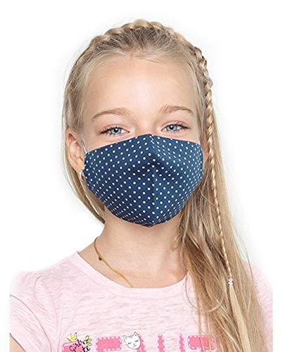 Set de 3 Masques Facial Pour Les Enfants de 7 à 12 ans, Double Epaisseur, Lavable et Réutilisable, 100% Coton, Fait à la Main, pour Garçons et Filles