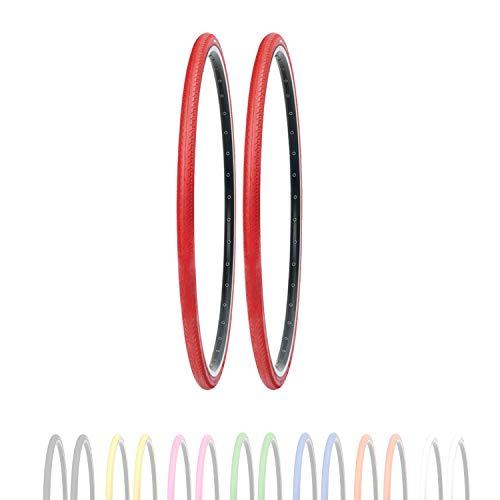 P4B Neumáticos de bicicleta de 28 pulgadas en rojo (26-622) 700 x 26C   Perfil estriado negativo slick   Cubierta duradera para bicicleta   Neumáticos para bicicleta