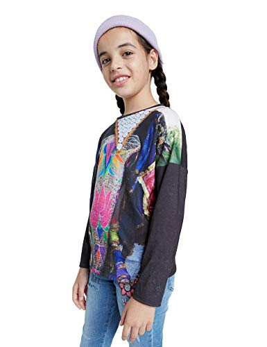 Desigual Girls TS_TULANCINGO T-Shirt, Black, 9/10