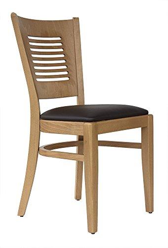 abritus Set 2 Stühle Stuhl Küchenstuhl Esszimmerstuhl Buche massiv mit Polstersitz braun *TG004
