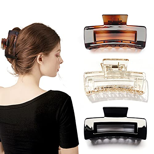 Kavya® 3 Stück Große Haarklammer, Rutschfeste Kunststoff Haarspangen Damen, Haar- Accessoires für Mädchen Dickes und Dünnes Haar