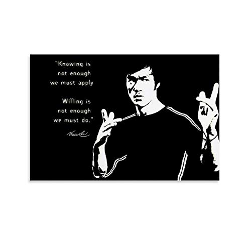 Bruce-lee Inmortal Dragon Muscle Artes Marciales Master Inspiracionales Cotizaciones Negro Blanco Cartel e Imprimir Restaurante Hotel 30 x 45 cm