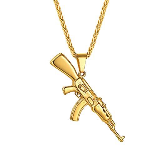 GoldChic Colgante Rifle AK-47 / Uzi Pistola de Oro Baño, Collar Ajustable 60cm Acero Inoxidable hipoalergénico, Regalo en Navidad Cumpleaños