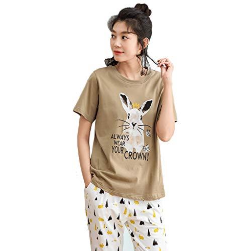 Pijamas De Algodón De Manga Corta para Mujer Pijamas De Conejito De Dibujos Animados De Moda Pantalones Casuales Color Café Claro Ropa para El Hogar Conjunto (Color : Marrón, Tamaño : L)