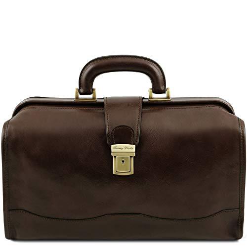 Tuscany Leather Raffaello - Klassische Doktortasche aus Leder mit Schnalle - TL141852 (Dunkelbraun)