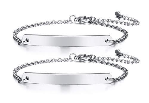 VNOX Personalisierte Edelstahl Freundschaft Familie Bar Armband Link ID Kette für Frauen Mädchen Einstellbare Länge, Kostenlose Gravur 2 Pcs