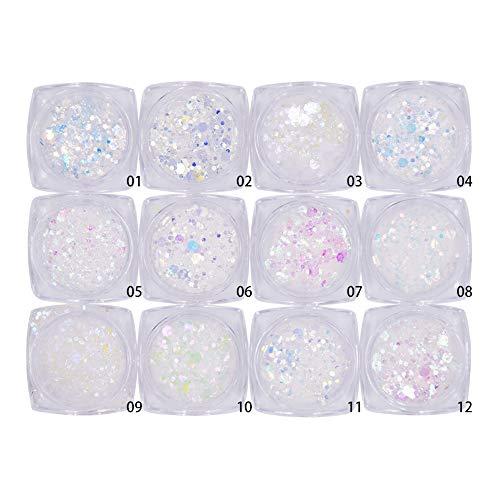 Minejin Nail Glitter Holographic Chunky Flakies Ultra-thin Iridescent Charming Sequins Powder Tips 12 Jar