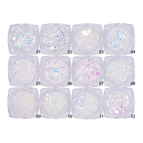 Minejin Nail Glitter Holographic Chunky Flakies Ultra-thin Iridescent Charming Sequins Powder Tips 12 Jar