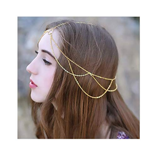 Campsis Festival Head Chain Gold Mental Headbands Gyspy Headpiece Jewelry Layered Hair Accessories for Women and Girls
