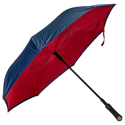 Red Navy Revers-A-Brella Portable No Drip Inverted Auto Open Lighted Handle Umbrella