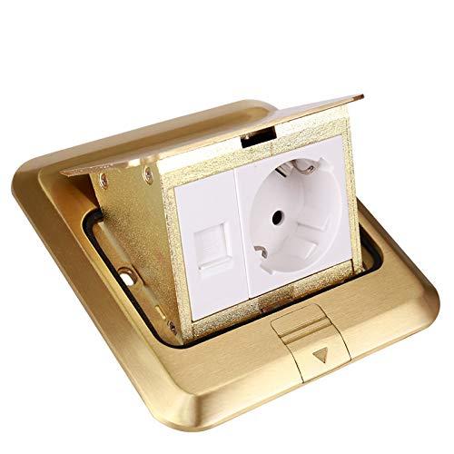 wkd-thvb - Toma de suelo con enchufe europeo enchufe para panel de bronce dorado con toma para ordenador tierra integrada impermeable RU Floor Socket 220 V