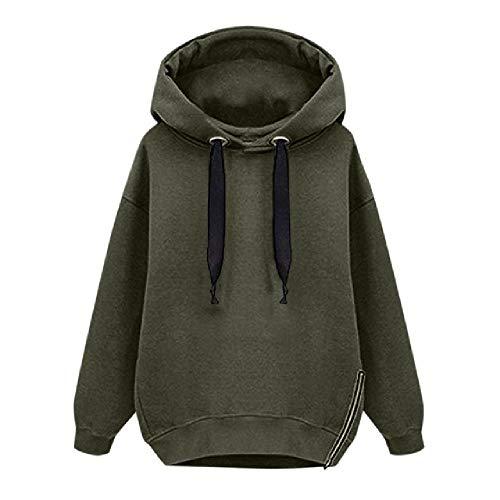 Las mujeres con capucha de manga larga sólida felpa suelta cordón longitud media Tops sudaderas con capucha para