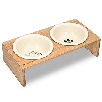 Navaris Gamelle Double Chien ou Chat - Gamelles Céramique avec Support en Bois Design - 2X Bol 360 ML avec Porte-Gamelles pour Croquette Eau Pâtée