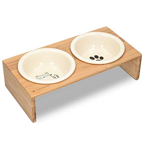 Navaris Comedero y Bebedero para Mascota - 2X Bol Elevado para Perros Gatos - Comedero Doble de cerámica - Boles con Soporte Antideslizante de bambú