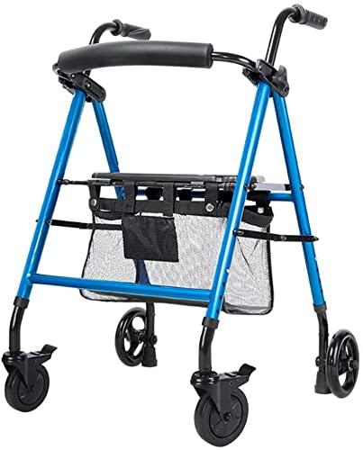Seniors portátil azul Rolling Walker, con ruedas grandes de 6 pulgadas y asiento y frenos, plegable altura ajustable, caminante vertical, pastel de mano para ir de compras