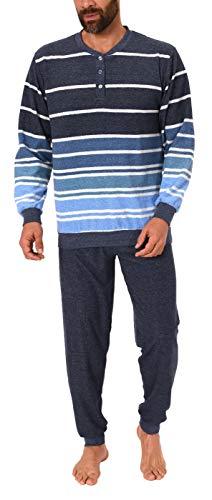 NORMANN-Wäschefabrik Edler Herren Frottee Pyjama mit Bündchen und Knopfleiste am Hals - auch in Übergrössen, Größe2:60, Farbe:blau