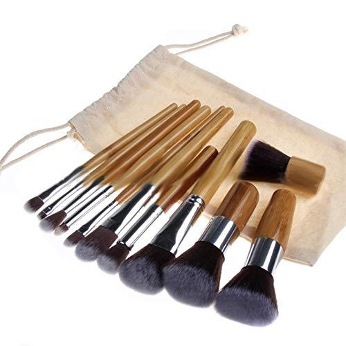 11 PCS Cosmétic Brush Set Bamboo Poignée Synthetic Maquillage Brosses Kit Outils en bois (Handle Color : 11pcs)
