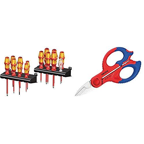 Wera 05105631001 Kraftform Big Pack 100 VDE- Juego de destornilladores, Set 14 Piezas + Knipex 95 05 155 SB Tijeras de Electricista, Multicolor, 15.5 cm