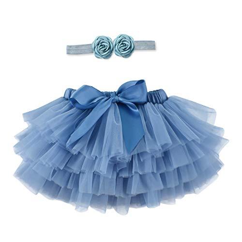 Baby Girls Soft Tulle Tutu Skirt and Headband Set for First Birthday,Photo Shoot Dark Blue 6-12 Months