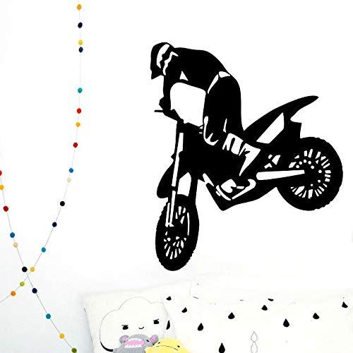 PSpXU Offroad-Fahrzeug Wandtattoo Motor Cross Motorrad Kinderzimmer Wanddekoration abnehmbare Kunst Wandbild 57x68cm