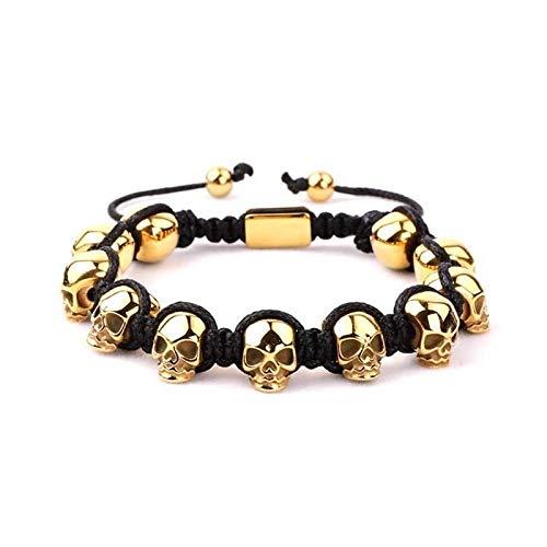 xingguang Pulsera de cráneo para hombre, de acero inoxidable, trenzado, con calavera, para hombre (color metálico: oro)