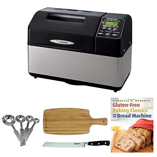 Zojirushi BB-CEC20 Home Bakery Supreme 2-Pound-Loaf Breadmaker, Black Includes 8 Bread Knife, Stainless Steel Measuring Spoon Set, Bamboo Cutting Board and Breadbook