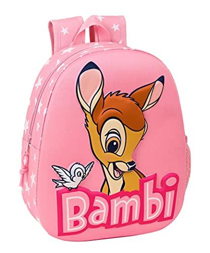Safta Mochila Diseño 3D Adaptable a Carro de Bambi, 270x100x320 mm, Rosa Claro