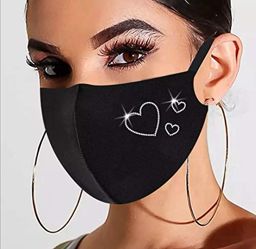 Premium A+ (2 pcs/ Pack) Glitter Sparkle Washable Face Mask Reusable for Party and Shopping for Women Girls (Butterfly and three hearts)