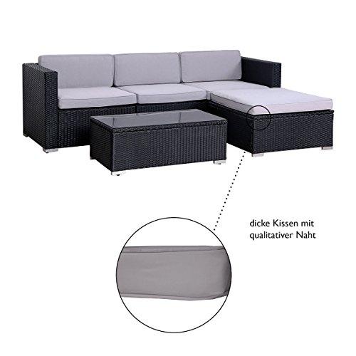 SVITA California Poly-Rattan Lounge Gartenset Sofa-Set Garnitur Gartenmöbel Couch-Set - 3