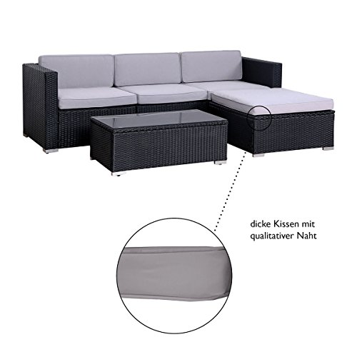SVITA California Poly-Rattan Lounge Gartenset Sofa-Set Garnitur Gartenmöbel Couch-Set - 7