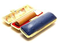 「なつめ印鑑12.0mm×60mmオーストリッチタイプケース(ブルー)付き」 横彫り 吉相体