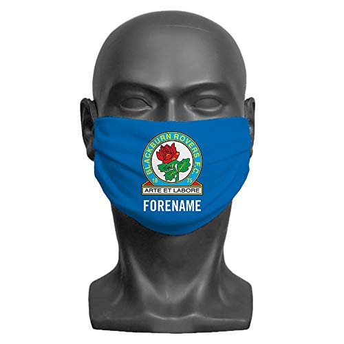 PERSONALISED Blackburn Rovers FC Crest Adult Washable Face Mask (Large) | Double Layer | Comfortable Elasticated Ear Loops - Official Merchandise