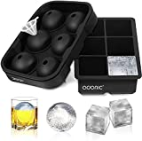 Ice Cube Tray, Adoric Large Square Ice Tray and Sphere Ice Ball Maker with Lid, Funnel for Whiskey, Reusable and BPA Free (Silicone Ice Cube Molds Set of 2)