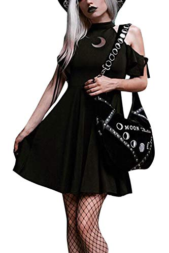 Faldas Plisadas Sin Tirantes Hombros Descubiertos Manga Corta Vestido Punk para Mujer
