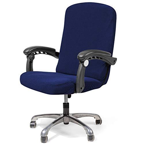Funda impermeable para silla de oficina para ordenador, resistente al agua, para silla de oficina, funda para silla de oficina, funda de sofá, funda moderna de estilo sencillo (azul oscuro, L)